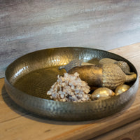 Antiqued Brass Round Tray 45cm | Annie Mo's