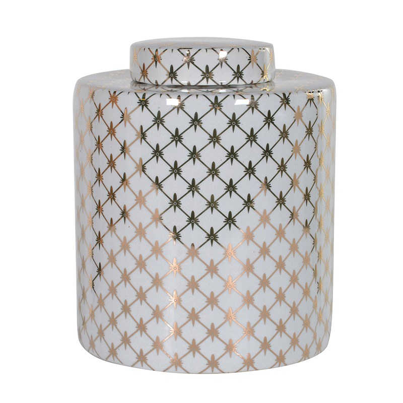Gold and White Patterned Tea Jar | Annie Mo's