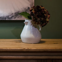 Decorative Ribbed Cream Ceramic Jug 21cm | Annie Mo's