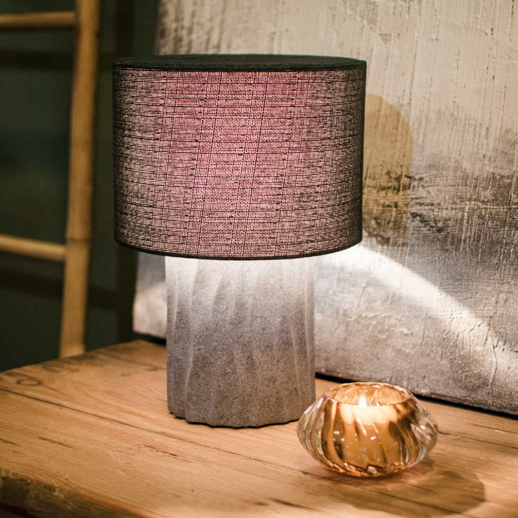 Dinky Cement Lamp with Linen Shade 32cm | Annie Mo's