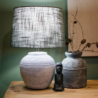 Distressed Stone Effect Lamp with Shade 40cm | Annie Mo's