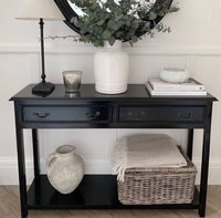 Black Console Table with Two Drawers | Annie Mos