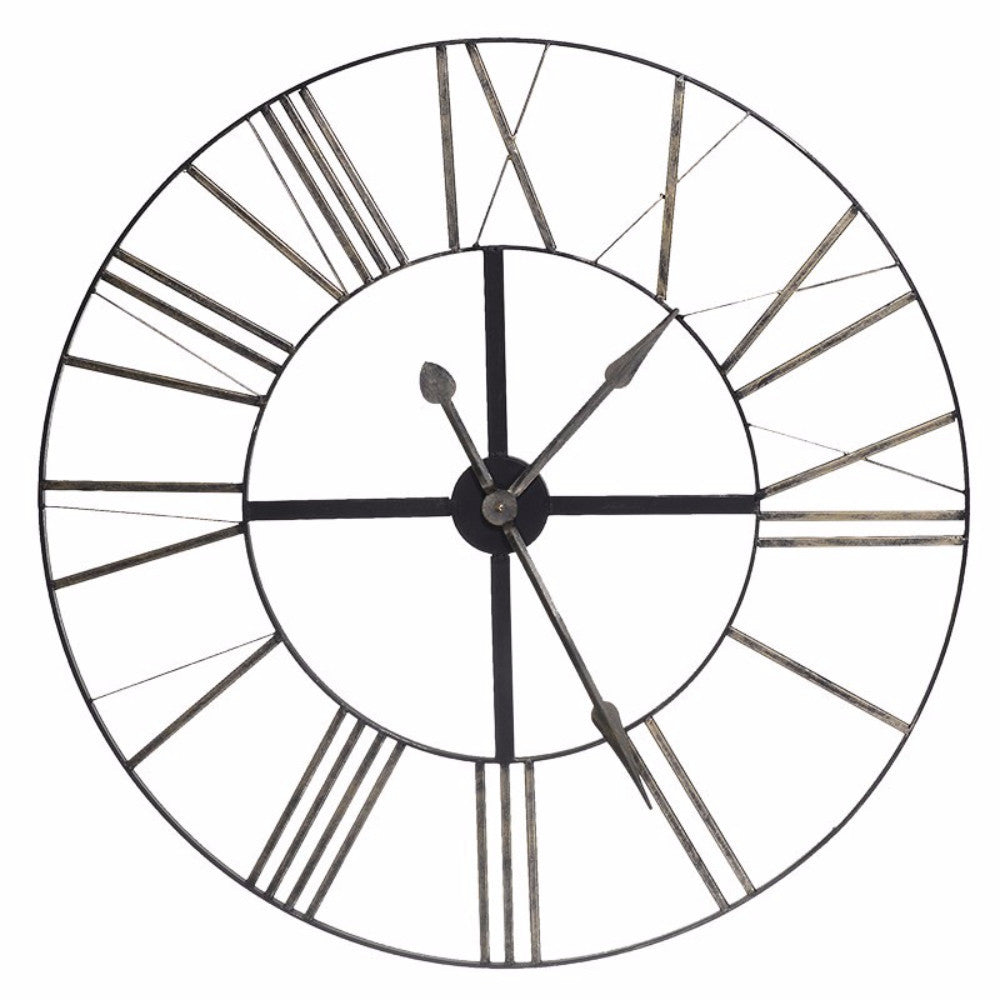 Distressed Large Metal Clock | Annie Mo's