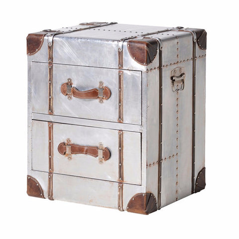 H: 600mm W: 500mm D: 420mm | Silver 2 Drawer Chest With Straps