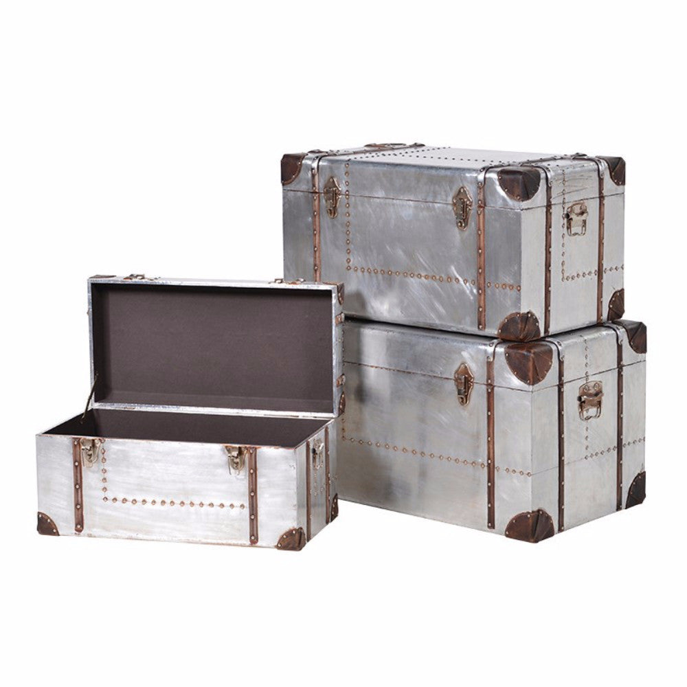 H: 440mm W: 800mm D: 450mm | Set 3 Silver Trunks With Straps