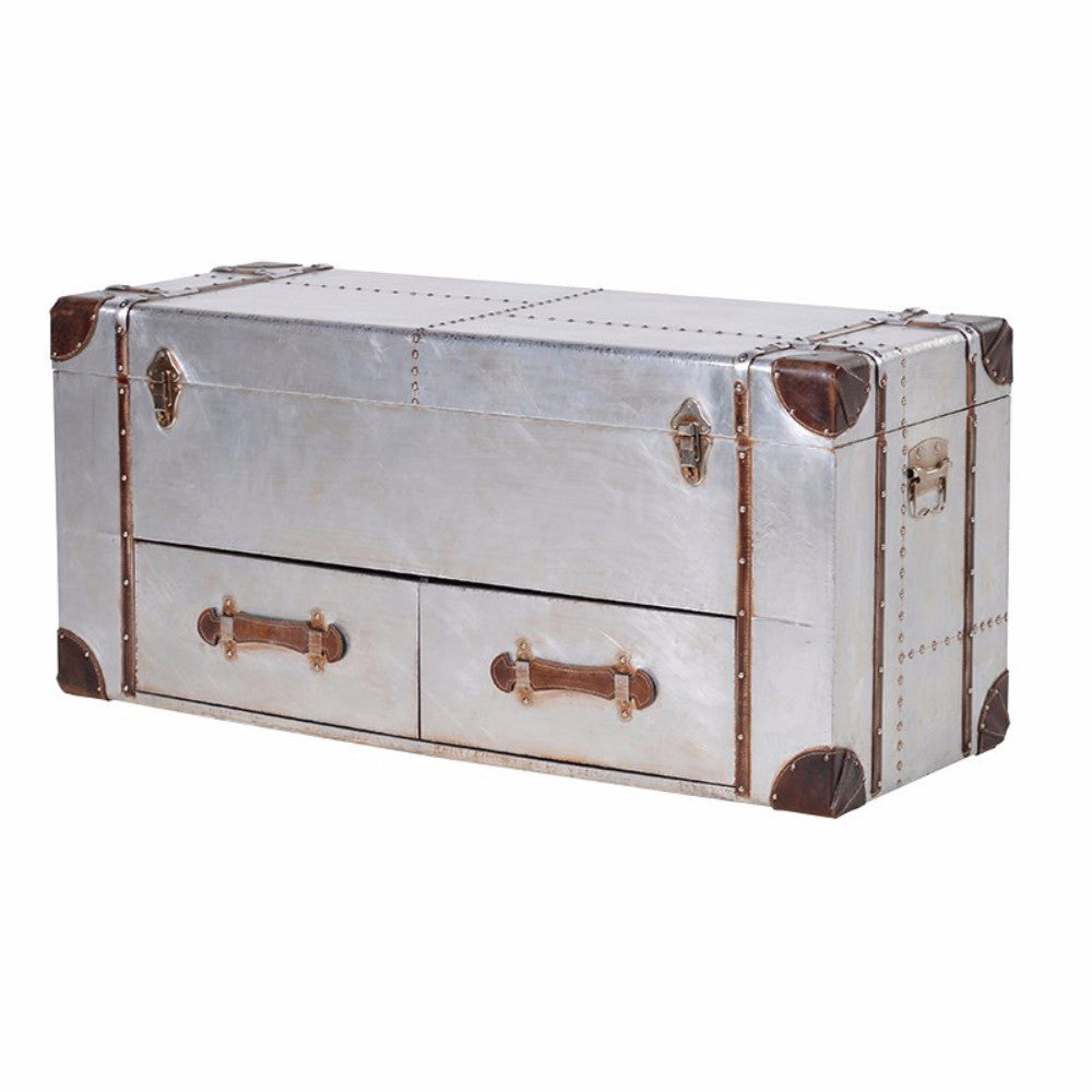 H: 500mm W: 1200mm D: 400mm | Silver 2 Drawer Trunk With Straps