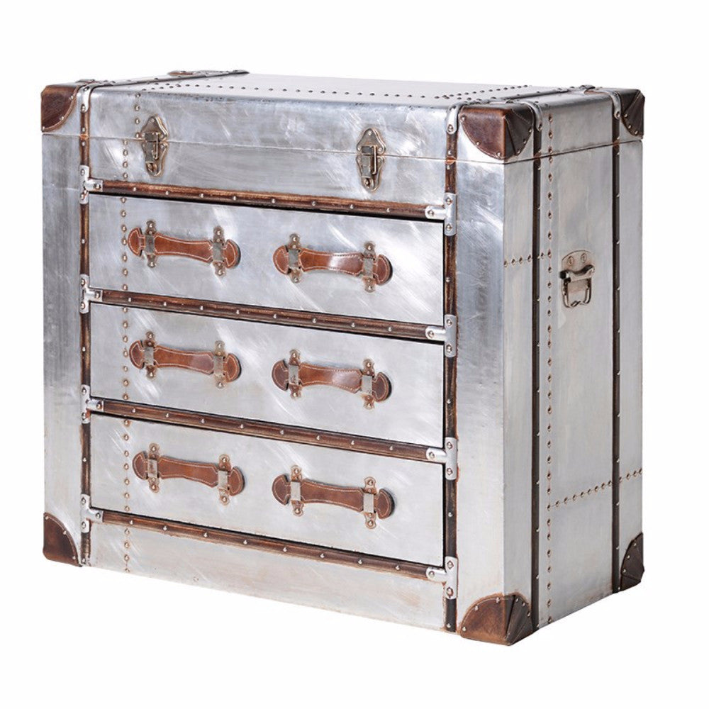 H: 800mm W: 880mm D: 430mm | Silver 3 Drawer Trunk Chest With Straps
