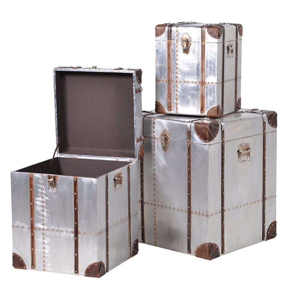 H: 600mm W: 500mm D: 500mm | Set 3 Square Silver Trunks With Straps