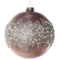 Large Pink Diamante and Bead Bauble 12cm | Annie Mo's