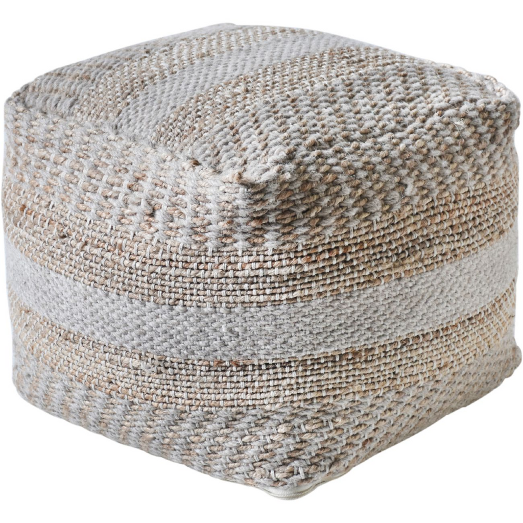 Hand Woven Pit Loom Ivory and Natural Hemp Pouffe 40cm | Annie Mo's