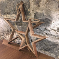 | Set of Two Hanging Wooden Stars  - 1