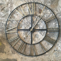 Distressed Large Metal Clock
