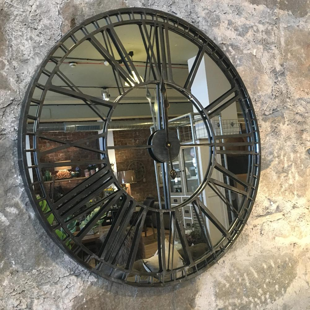 Skeleton Mirrored wall Clock 80cm Diameter | Annie Mo's