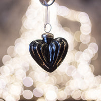 Black Gold Hanging Heart Baubles - Medium | Annie Mo's