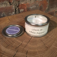Linen and White Pepper Annie Mo's Tinned Candle