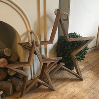 Set of Two Hanging Wooden Stars