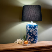 Indigo Flowers Lamp with Blue Shade 68cm | Annie Mo's