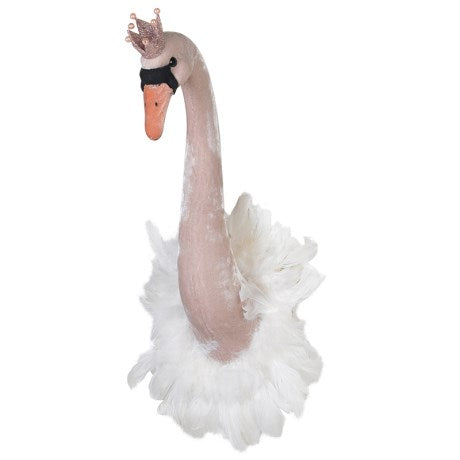 Crowned Furry Swan Head Wall Mount 65cm | Annie Mo's