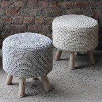 Nomad Knitted Wool Stool 4 Legs