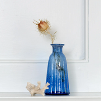 Vase Recycled Glass Blue 13cm