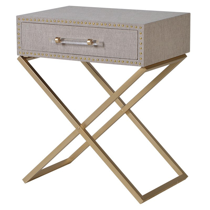 Linen and Metal Cross Leg Lamp Table | Annie Mo's