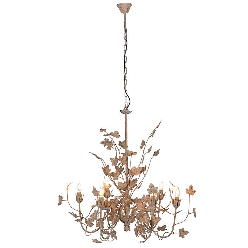 Distressed Gold Effect Leaf Six Bulb Chandelier | Annie Mo's