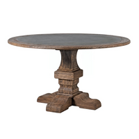 Reclaimed Elm and Zinc Round Dining Table 140cm | Annie Mo's