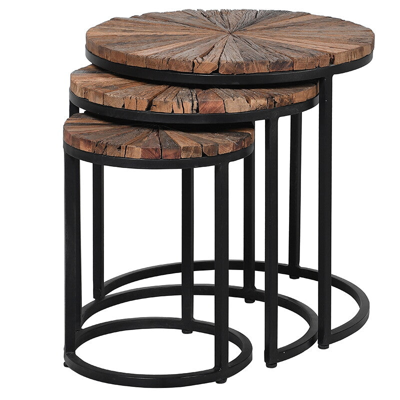 Set of Three Nesting Tables with Reclaimed Wood | Annie Mo's