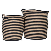 Set of Two Cotton Woven Stripe Baskets | Annie Mo's