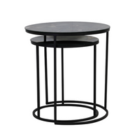 Set of Antiqued Glass and Iron Nesting Tables 50cm | Annie Mo's