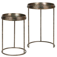 Set of Two Mirrored Fern Pattern Tray Tables 59cm | Annie Mo's