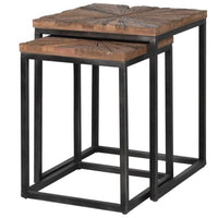 Set of Two Nesting Tables with Reclaimed Wood | Annie Mo's