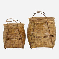 Set of Two Rattan and Bamboo Baskets | Annie Mo's