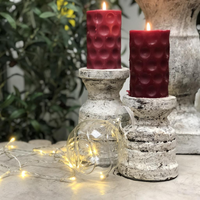 Set of Two Rustic Stone Effect Pillar Candle Holders | Annie Mo's