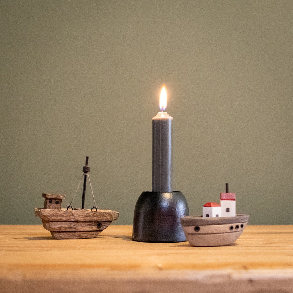 Short Dark Grey Dinner Candle 11cm | Annie Mo's