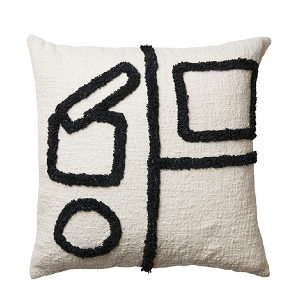 Square Off White and Black Cushion Style Two 50cm x 50cm | Annie Mo's
