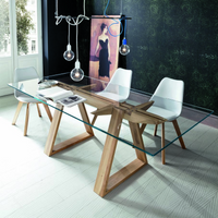 Tokyo Dining Table with Glass Top and Solid Oak Legs | Annie Mo's