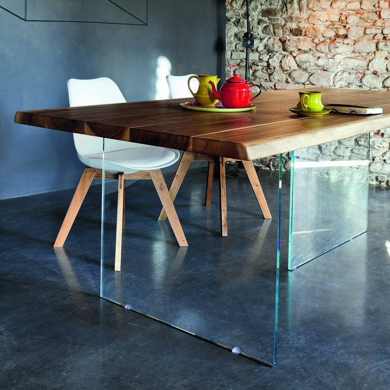 Toronto Walnut Table With Glass Legs | Annie Mou0027s. Images / 1 / 2 / 3 / 4  ...