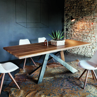 Toronto Dining Table with Walnut Top and Metal Edged Legs | Annie Mo's