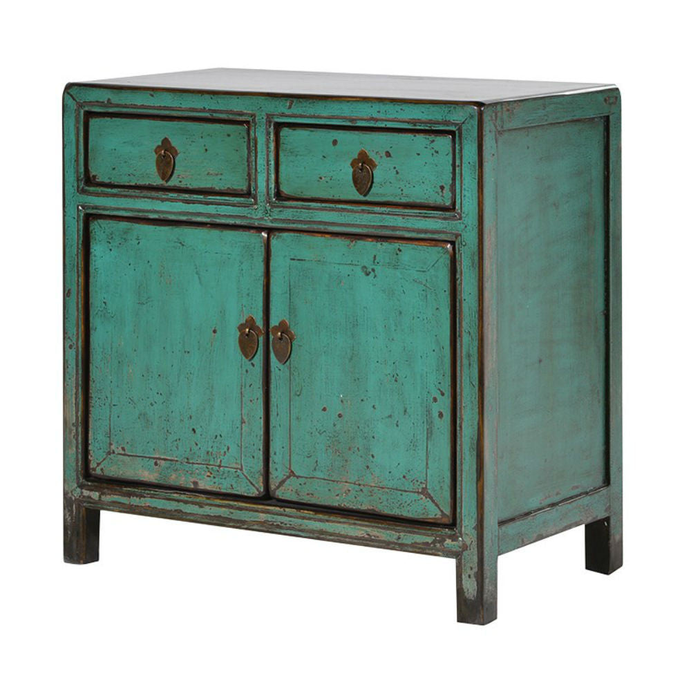 H: 670mm W: 670mm D: 370mm | Chinese Small Two Door Cupboard Green