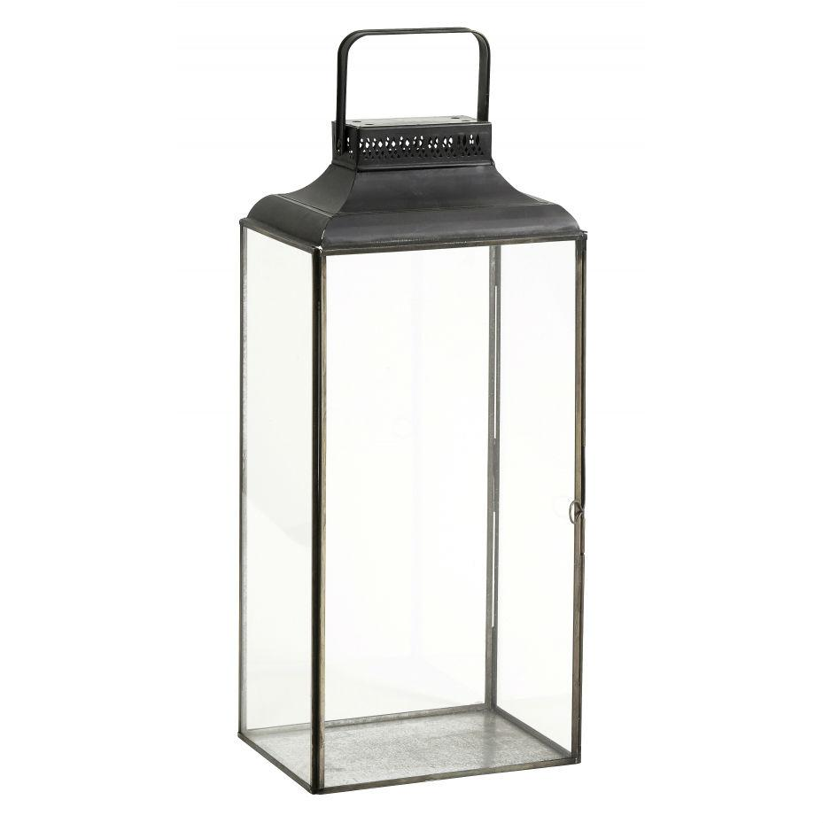 Large Black Metal and Glass Lantern  | Annie Mo's
