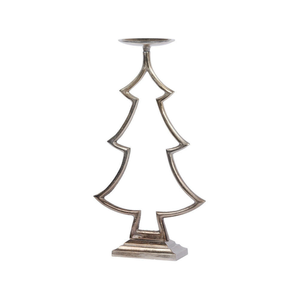 Stained Bronze Large Tree Pillar Candle Holder | Annie Mo's