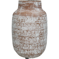 Patterned Terracotta Vase in Brown and White 30cm | Annie Mo's