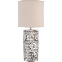 Patterned Brown Porcelain Table Lamp with Natural Shade 54cm | Annie Mo's