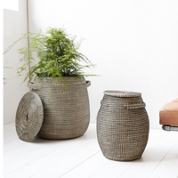 Black and Natural Seagrass Large Baskets | Annie Mo's