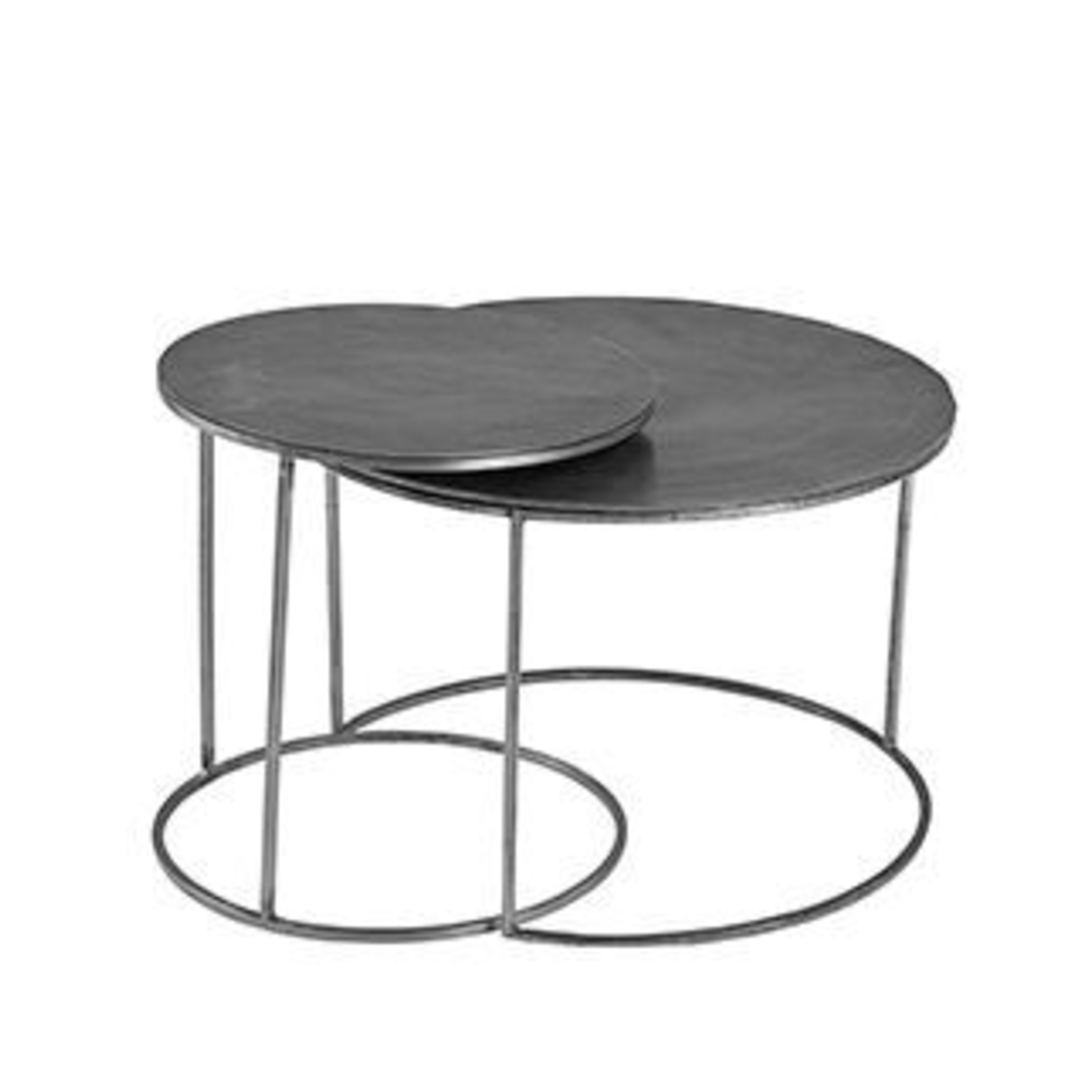 Antiqued Silver Set Of Two Round Nesting Tables 61cm Annie Mo S