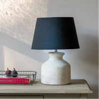 Small Stoneware Lamp with Black Shade 42cm | Annie Mo's