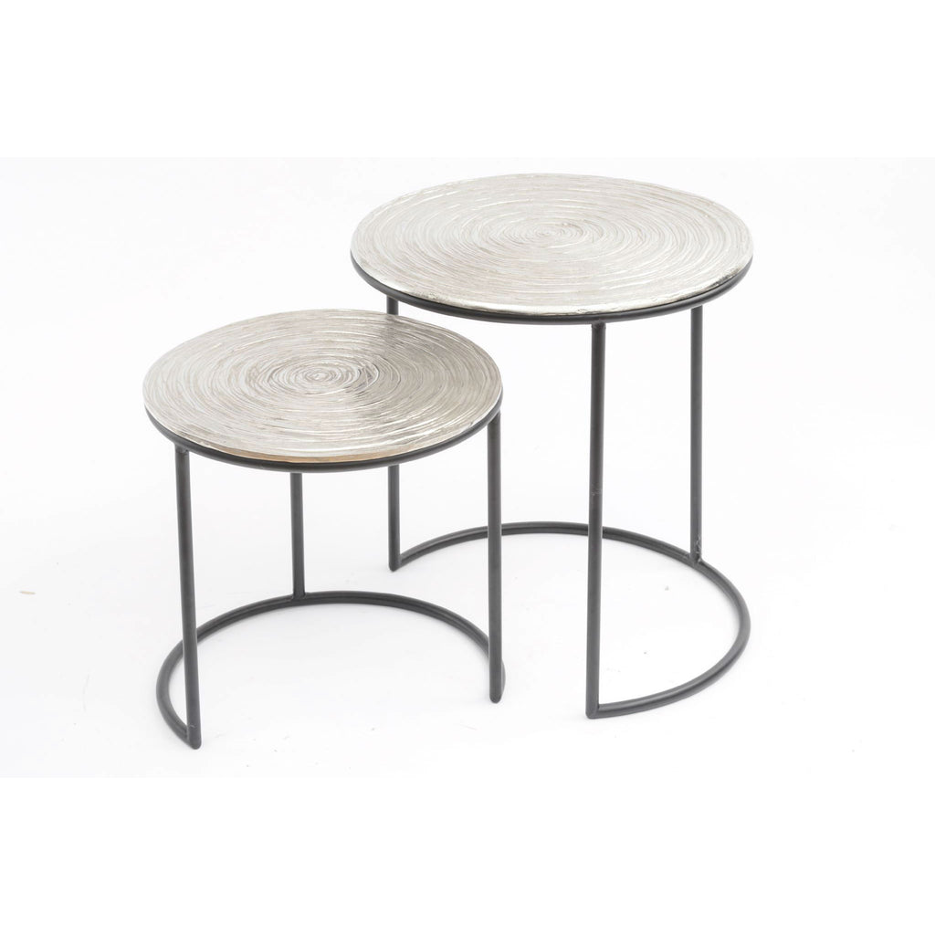 Aluminium and Iron Textured Nesting Tables | Annie Mo's