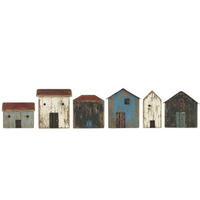 Super Cute Row of Six Distressed Wood Houses 12cm | Annie Mo's