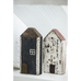 Super Cute Row of Six Distressed Wood Houses 12cm